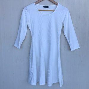 Ivory Skater 3/4 Sleeves Plated Dress